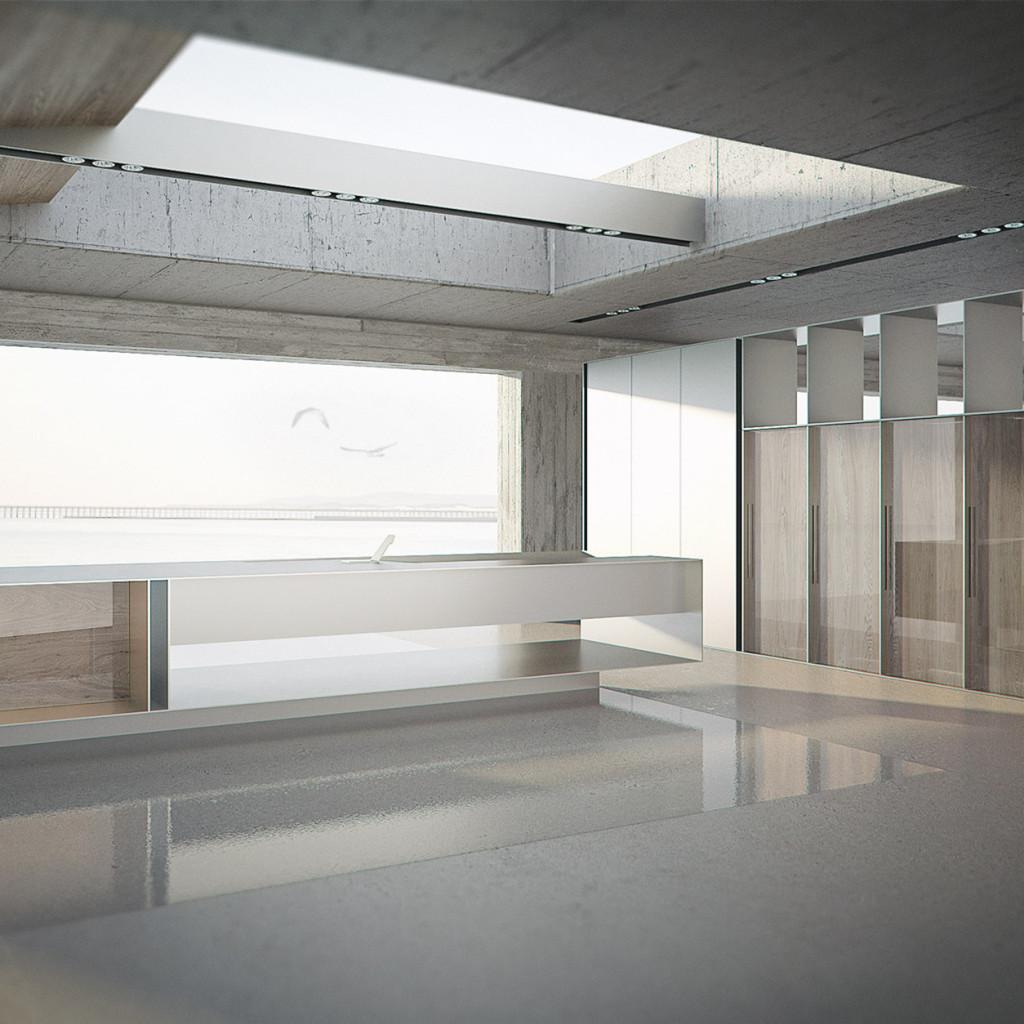 Küche sd 011 Gesamtansicht mit verglastem Eichenholz